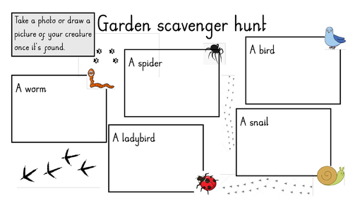 Various scavenger hunts  home learning