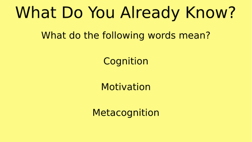 Introduction to Metacognition Presentation