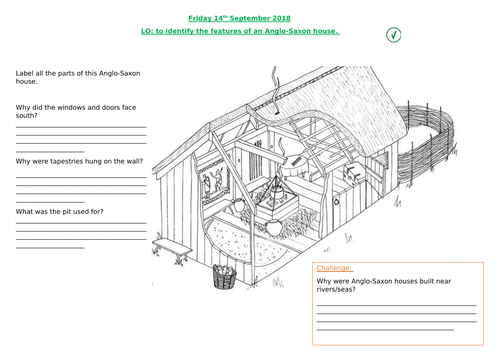 Features of an Anglo-Saxon home worksheet