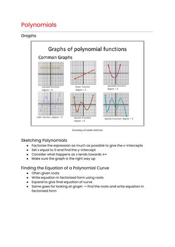 OCR MEI Mathematics: Year 1 (AS) Pure - Polynomials Cheat Sheet