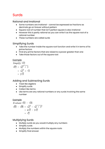 OCR MEI Mathematics: Year 1 (AS) Pure - Surds and Indices Cheat Sheet