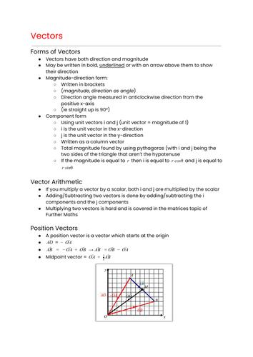 OCR MEI Mathematics: Year 1 (AS) Pure - Vectors Cheat Sheet