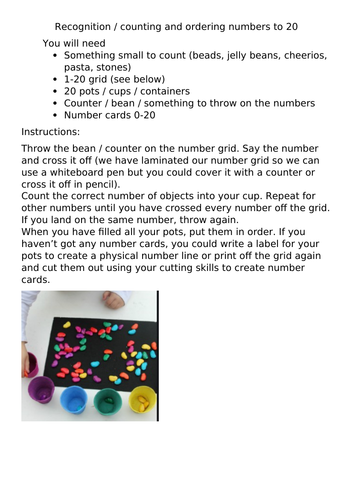 Maths activity for home-learning EYFS