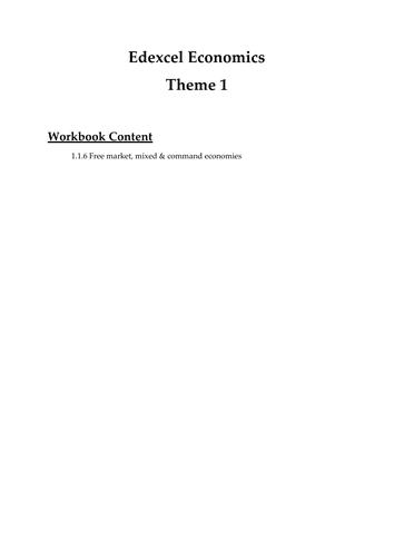 Edexcel Economics Theme 1: 1.1.6 Free market, mixed & command economies