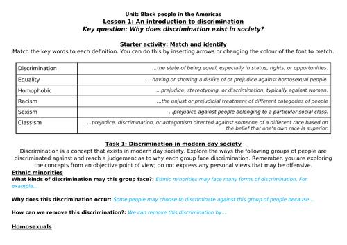 Discrimination worksheet for home learning