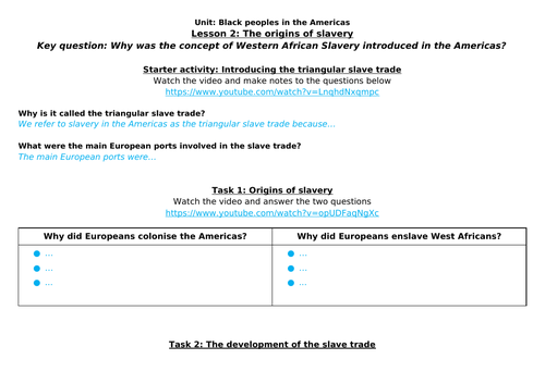 Origins of Slavery home learning worksheet