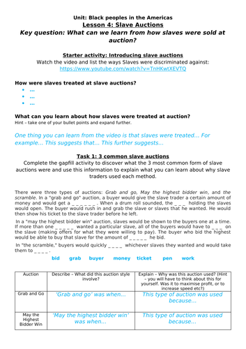 Slave Auctions Home Learning worksheet