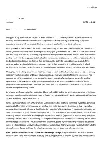 Head Teachers / Senior Leaders Job Application Letter and Personal Statement