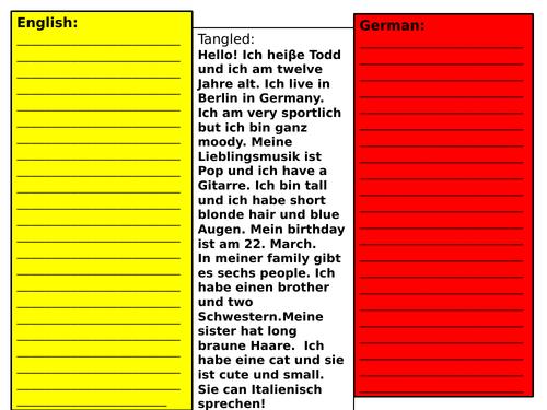 Tangled translation activity beginners German
