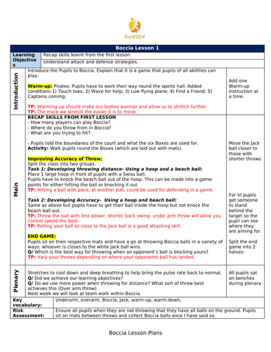 Boccia Lesson Plans & Assessment Sheet