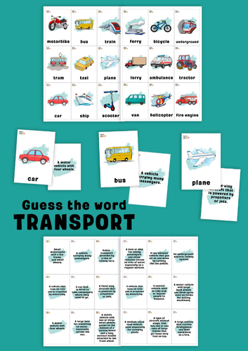 Transport. Guess the word game.