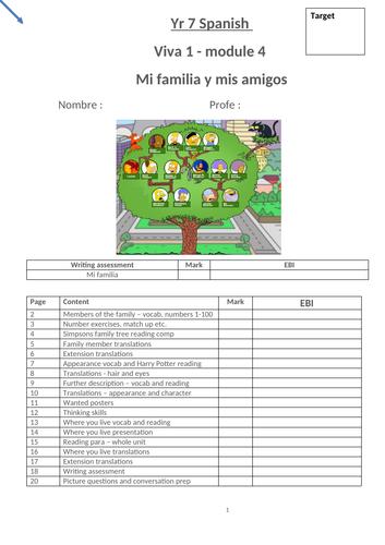 Viva 1 Module 4 Mi familia  y amigos workbook