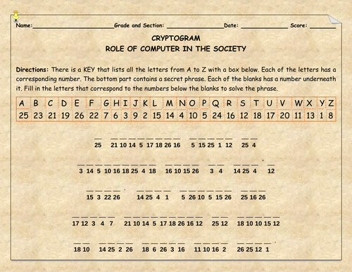 Role of Computer to the Society-Cryptogram
