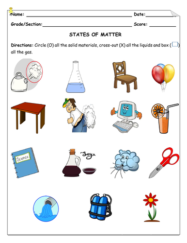 States of Matter- Solid, Liquid, Gas Worksheet