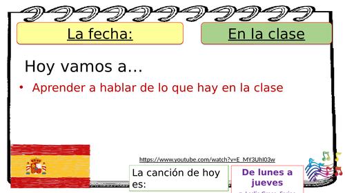 Spanish classroom items (En el aula/ En la clase hay)