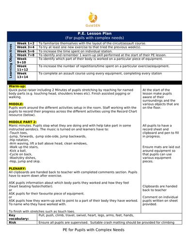 PE Lesson Plan for Complex Needs Pupils