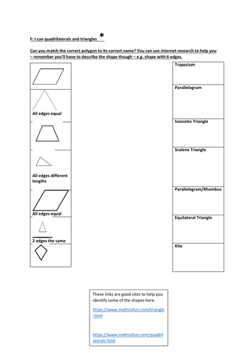 Year 5/6 Identifying Different Quadrilaterals and Triangles