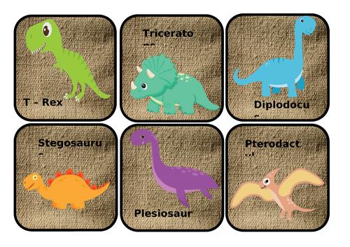 Dinosaur species scavenger hunt