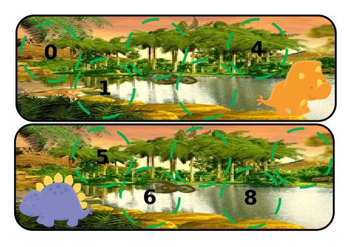 Dinosaur missing numbers 0-20 -yellow door pebble compatible