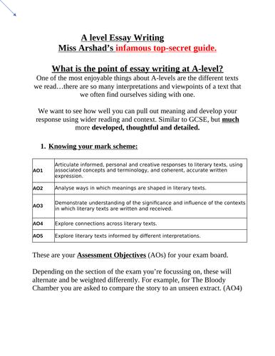 A Level Essay Writing Guide