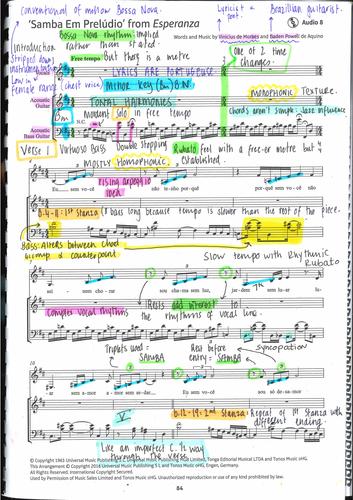 GCSE Edexcel Samba Em Preludio Annotated Score