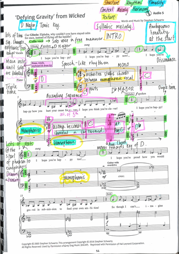 GCSE Edexcel Defying Gravity from Wicked  Annotated Score