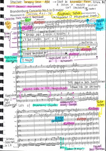 GCSE Edexcel Brandenburg Concerto No.5 in D Major III Annotated Score