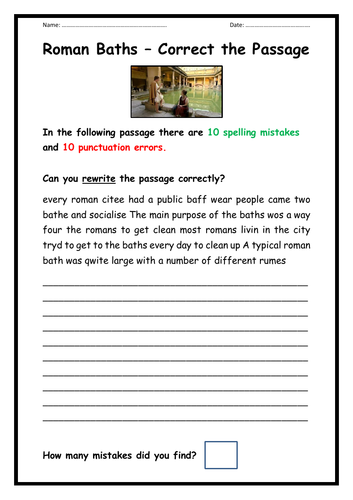 Roman Baths - Spelling & Punctuation Task