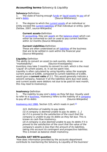 Accounting terms-Solvency and Liquidity plus exercises