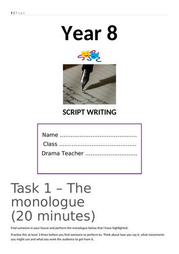 Script writing Home Learning KS3