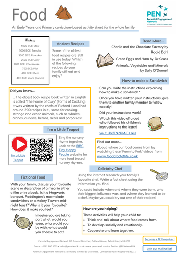 Food 2 Primary Family Home Learning Sheet