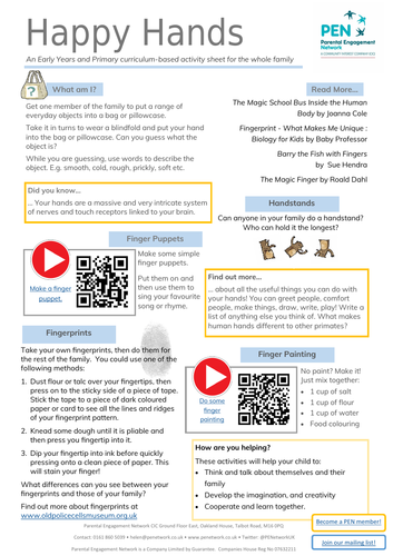Happy Hands Primary Family Home Learning Sheet