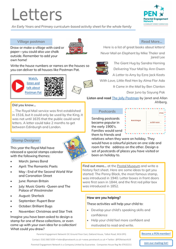 Letters Primary Family Home Learning Sheet