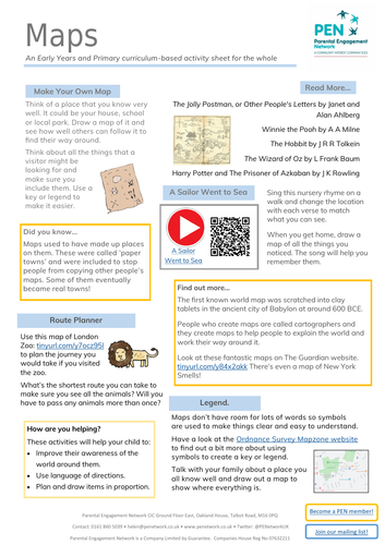Maps Primary Family Home Learning Sheet