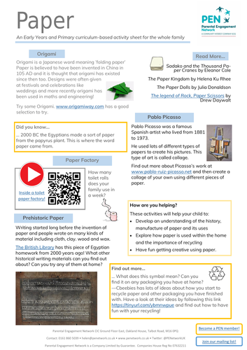 Paper Primary Family Home Learning Sheet