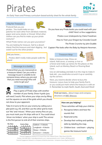Pirates Primary Family Home Learning Sheet