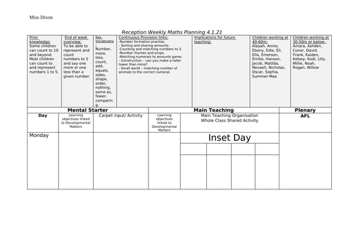 Reception weekly plans - Spring Term 1 - Maths based on White Rose Maths