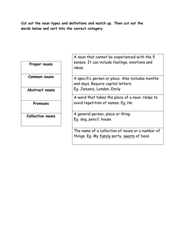 Types of Nouns Match Up