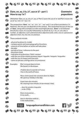 French - Prepositions - Part 1 Dans, en, au, à la, à l', aux or à? How to say in?