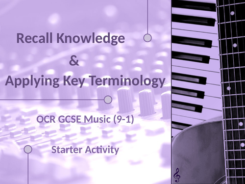 OCR GCSE Music - Recall Knowledge and Key Terminology Starter - AOS5 - Conventions of Pop