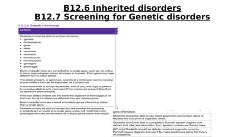 AQA B12.6 B12.7 Inherited disorders and Screening