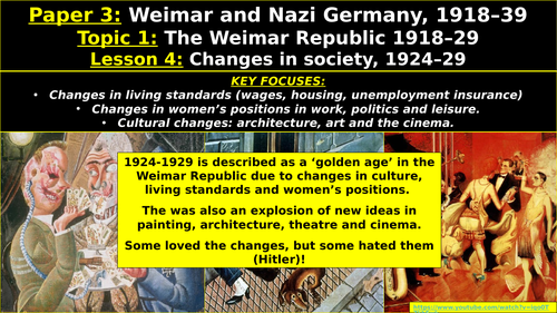 Edexcel Weimar & Nazi Germany, Topic 1: The Weimar Republic, L6: Changes in Society, 1924–29