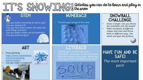 Remote learning - snow activities
