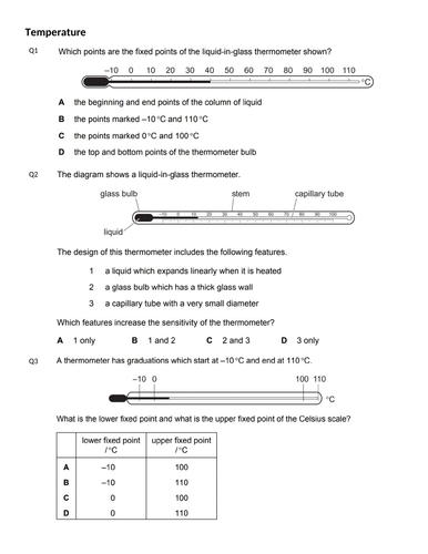 TEMPERATURE MCQs(IGCSE 0625 CLASSIFIED WORKSHEET WITH ANSWERS)