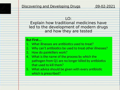 Discovery and Development of Drugs - Virtual Lesson