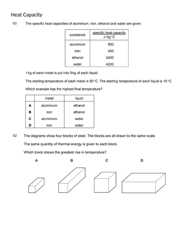 HEAT CAPACITY MCQs(IGCSE 0625 CLASSIFIED WORKSHEET WITH ANSWERS)