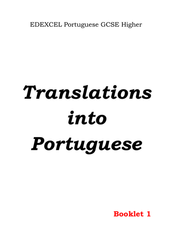 Translation into Portuguese - GCSE Higher