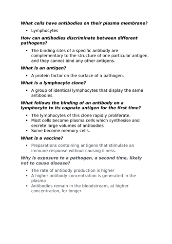 Immune system response summary