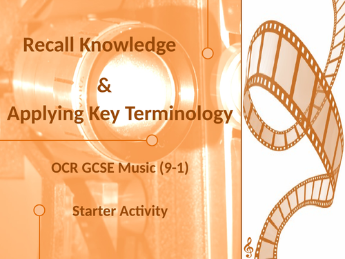OCR GCSE Music - Recall Knowledge and Key Terminology Starter - AOS4 - Film Music