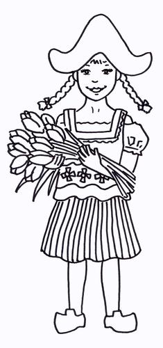 Dutch Girl Colouring Sheet - Early Years